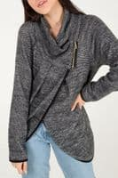 COATIGAN KNITTED WRAP CARDIGAN/JACKET NAVY OR CHARCOAL ONE SIZE 10-18